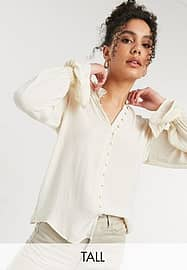 Vero Moda Tall blouse with frill neck and sleeves in cream-White