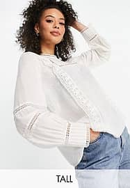 Vero Moda Tall blouse with lace inserts in white