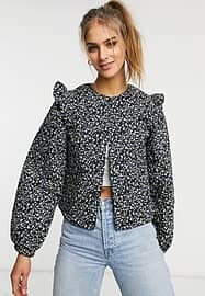 Vila jacket with frill shoulder detail and balloon sleeve in ditsy floral-Multi