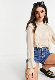 Vila recycled high neck blouse with frill details and balloon sleeve in cream-Neutral