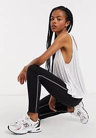 Weekday amber sporty leggings with contrast seams in black