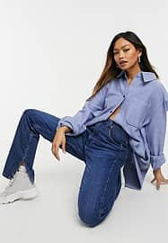 Weekday Betsy organic cotton jersey shirt in blue