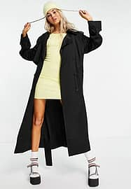 Weekday Cassidy trench coat in black