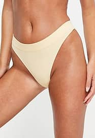 Weekday Cat recycled ribbed thong in light yellow