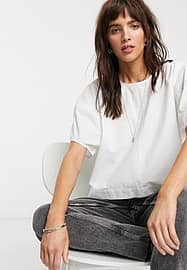 Weekday Flo balloon sleeve blouse in off-white
