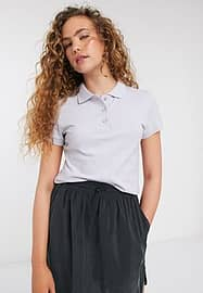 Weekday Oria cropped polo shirt in light purple