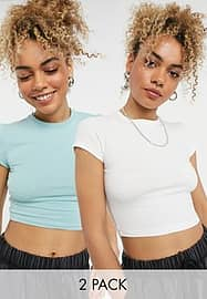 Weekday Sabra organic cotton 2 pack cropped t-shirt in white and green-Multi