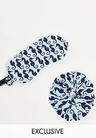 Y.A.S exclusive eye mask and scrunchie set in seahorse print-Multi