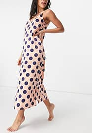 Y.A.S exclusive satin night dress in pink and navy spot print-Multi