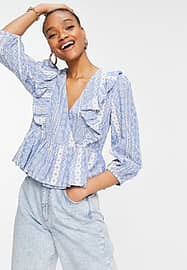 Y.A.S peplum wrap front blouse in blue-Multi
