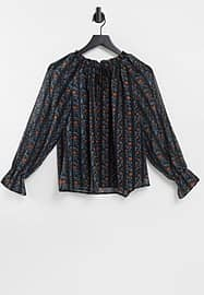 Y.A.S smock blouse in floral stripe-Grey