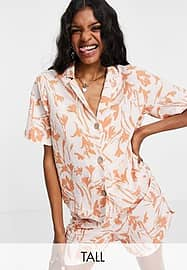 Y.A.S Tall short sleeve shirt co-ord in tropical print-Multi