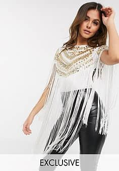 exclusive embellished fringe bodysuit in white and gold sequin
