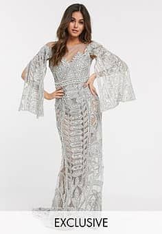 exclusive embellished maxi dress in silver