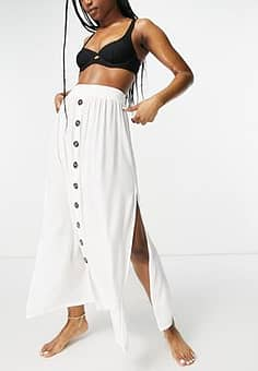 button up beach skirt in white