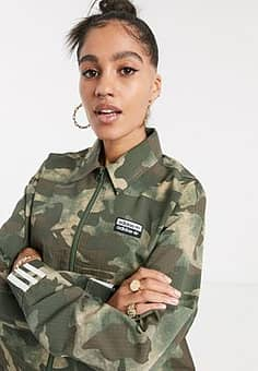 Adidas RYV cropped jacket in camo-Multi