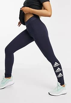 Adidas stacked logo tights in legend ink & white-Navy