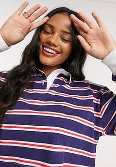 ASOS cropped polo in stripe-Navy