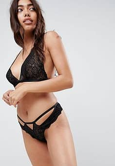 ASOS Maddison Lace Thong-Black