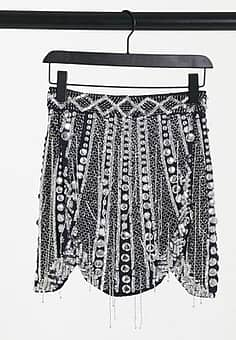 mini skirt with shaped hem and beading-Silver