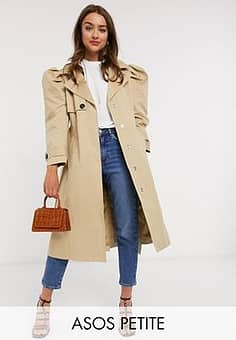 DESIGN Petite puff sleeve trench coat in stone-Neutral