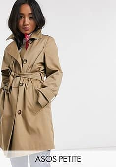 DESIGN Petite trench coat in stone-Neutral
