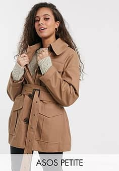 DESIGN Petite utility trench jacket in stone-Neutral