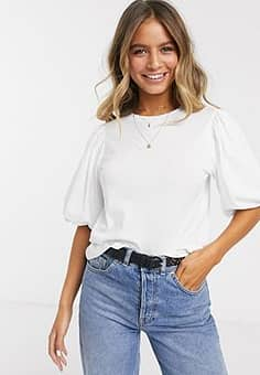 t-shirt with puff sleeve-White