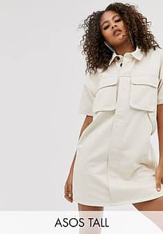 ASOS  DESIGN Tall denim boxy shirt dress in ecru-White