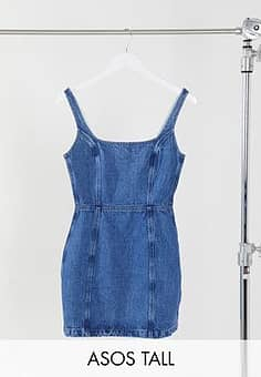 ASOS  DESIGN Tall denim square neck pinny dress in blue