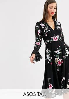 ASOS  DESIGN Tall embroidered midi dress with lace trims-Black