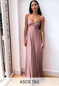 ASOS  DESIGN Tall exclusive bandeau maxi dress with knot detail in rose pink