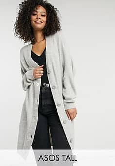 ASOS  DESIGN Tall knitted cardigan dress in grey-Stone