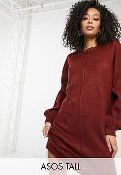 ASOS  DESIGN Tall knitted dress with brushed yarn in dark red-Grey