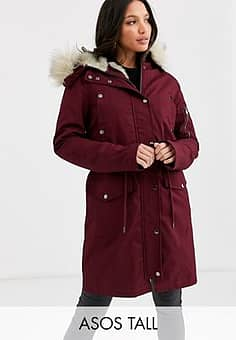 ASOS  DESIGN Tall parka with detachable faux fur liner in oxblood-Purple