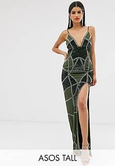 ASOS  DESIGN Tall sexy pencil maxi dress with embellished panels-Multi