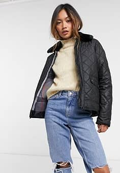 Barbour Glencoe wax quilted coat with faux fur collar in black