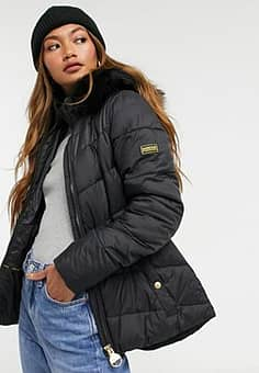 Barbour International Checkside quilted jacket with faux fur hood in navy-Black