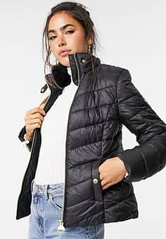 International Sportsman quilted jacket with faux fur collar in black