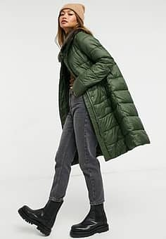Barbour Teasel long line padded jacket with faux fur collar in green