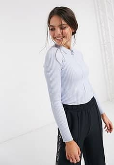 knitted polo top in blue