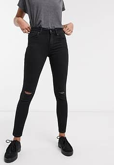 skinny push up jean in black with knee rip