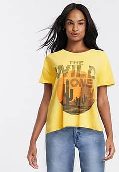 the sild one slogan t-shirt in yellow