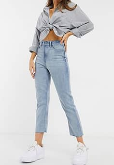 Brave Soul francis high waisted mom jeans in light wash blue