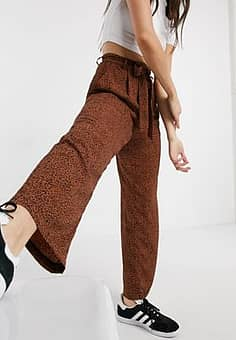 issey wide leg printed trousers with tie waist-Brown