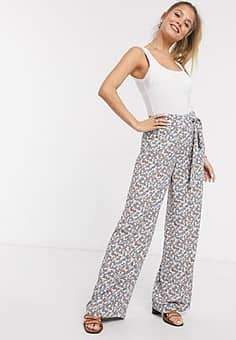 ivy high waisted wide leg trousers-Multi