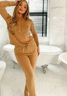 lambada knitted hoodie and joggers tracksuit set-Brown