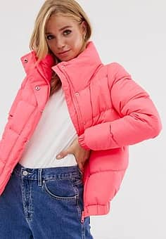 slay cropped padded coat in neon-Pink