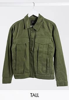 frederique twill jacket with pocket detail in khaki-Green