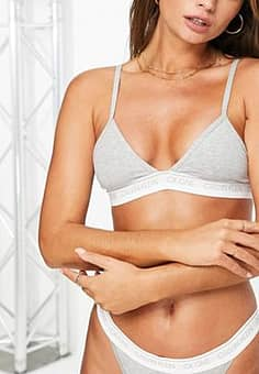 CK One Cotton unlined triangle bra in grey